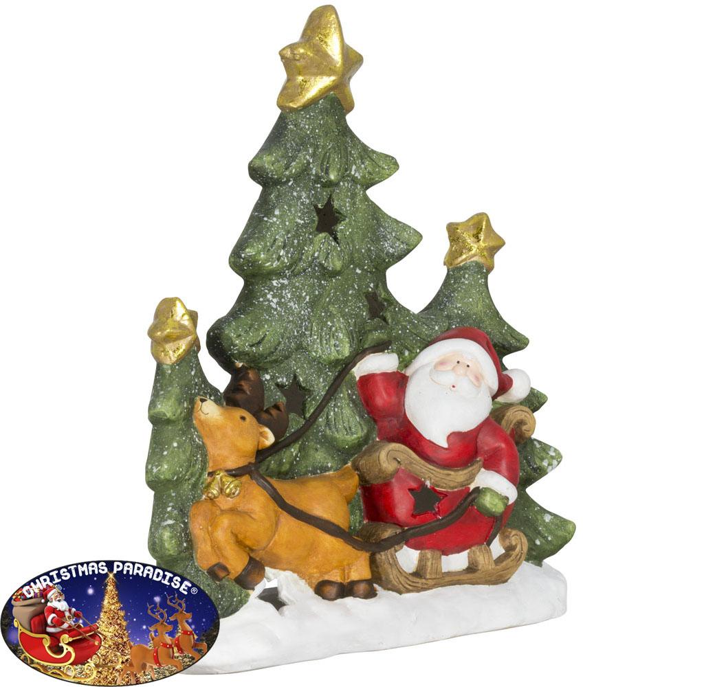 Tischdekoration Baum+Santa 48cm