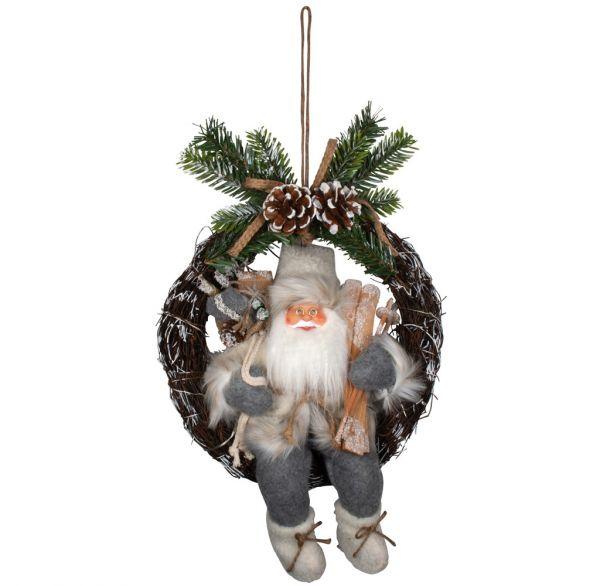 Santa Findus 30cm im Kranz mit LED