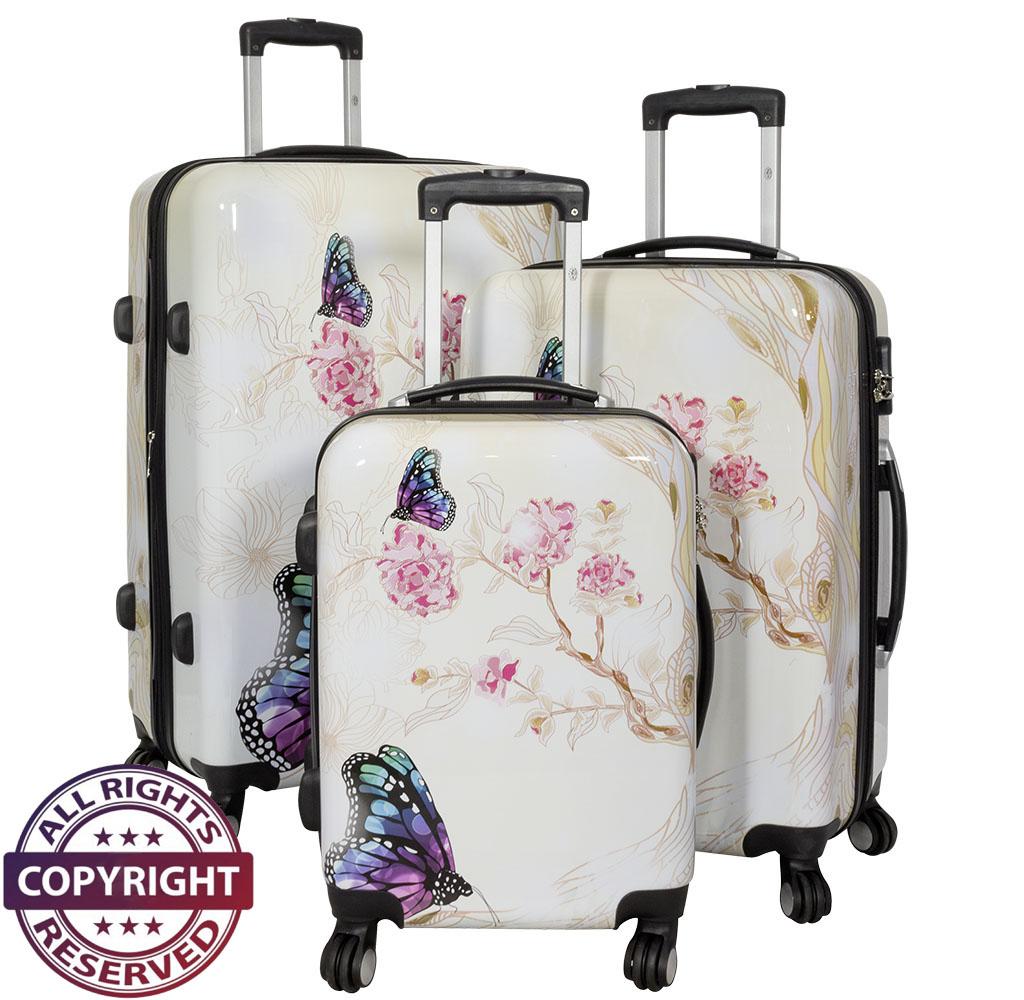Polycarbonat-Kofferset 3tlg Butterfly II