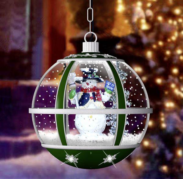 Schneiende LED Hängelaterne 35cm Santa