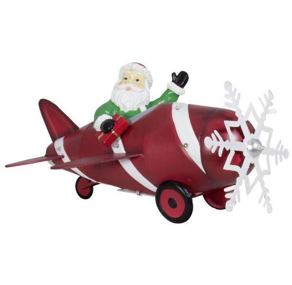 Santa im Flugzeug 33cm