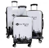 Polycarbonat-Kofferset 3tlg Fly the world weiß