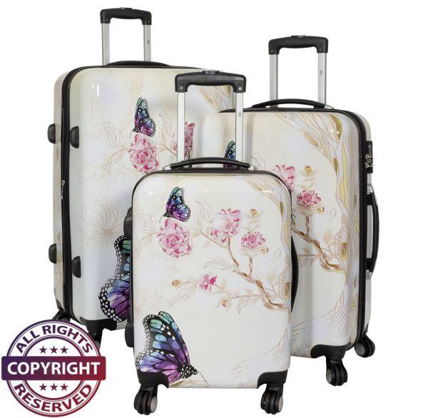 Polycarbonat Kofferset 3tlg Butterfly II