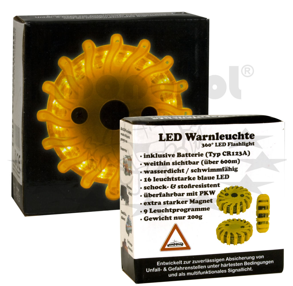 360° LED Notfallleuchte gelb