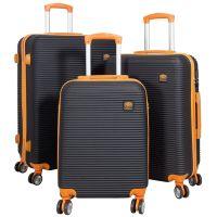 ABS-Kofferset 3tlg Santorin schwarz-orange