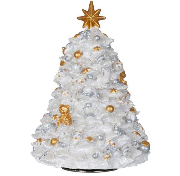 Mechanische Spieluhr Weihnachtsbaum weiß 17cm