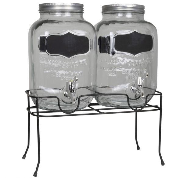 Getränkespender 2x 4 Liter mit Zapfhahn + Ständer