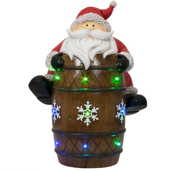 LED Weihnachtsdeko Santa auf Fass 39cm